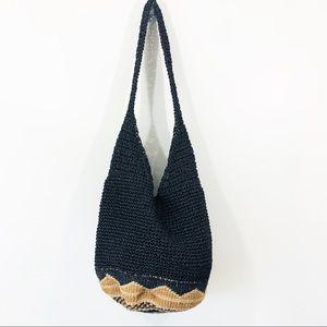 Black and Tan straw hobo bag with boho bottom